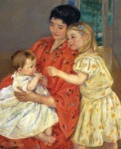 Mary Cassatt - Mother and Sara Admiring the Baby